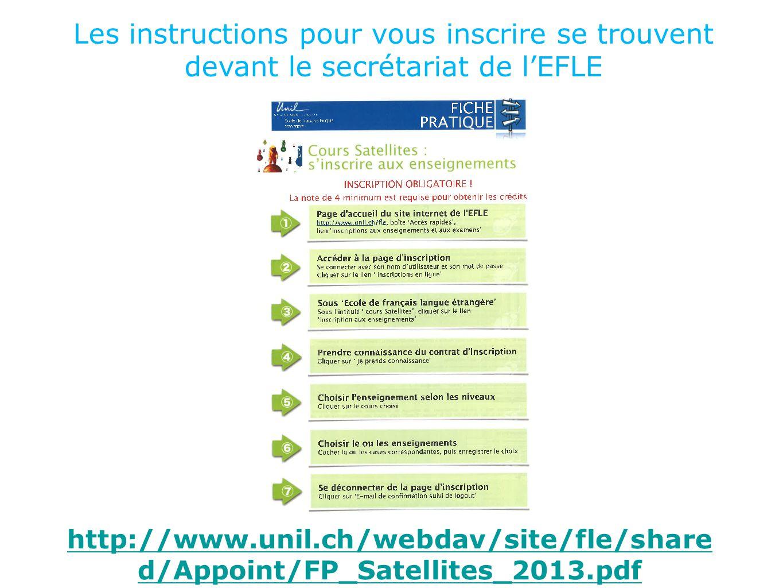 Les instructions pour vous inscrire se trouvent devant le secrétariat de l'EFLE http://www.unil.ch/webdav/site/fle/share d/Appoint/FP_Satellites_2013.pdf