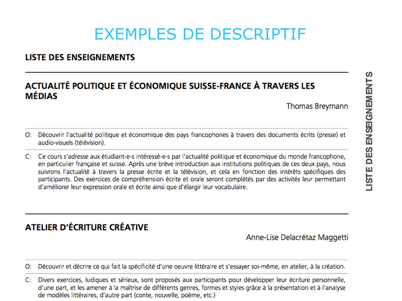 EXEMPLES DE DESCRIPTIF