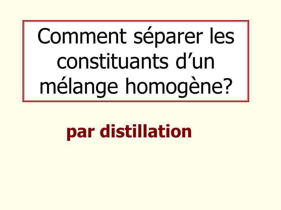 Comment séparer les constituants d'un mélange homogène? par distillation