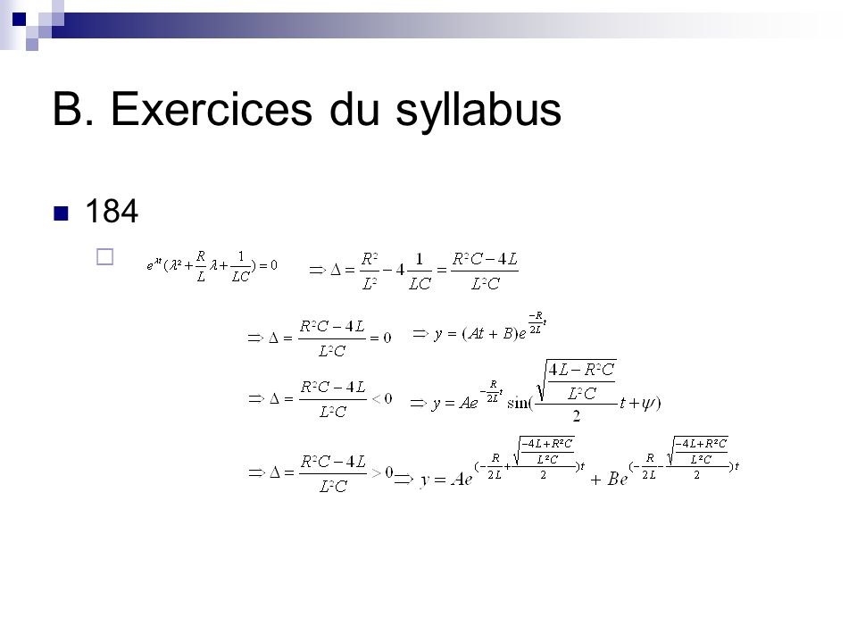 B. Exercices du syllabus 184 