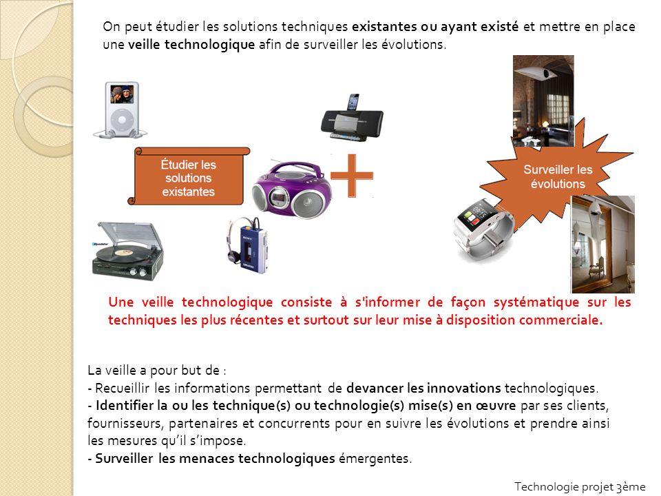 On peut étudier les solutions techniques existantes ou ayant existé et mettre en place une veille technologique afin de surveiller les évolutions.