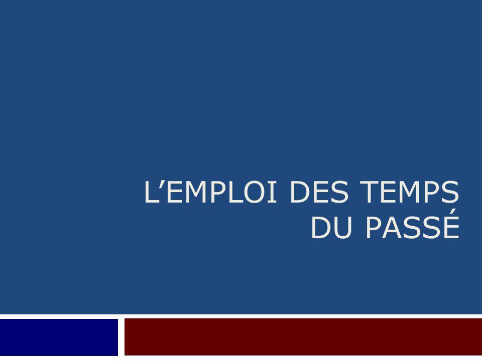 L'EMPLOI DES TEMPS DU PASSÉ