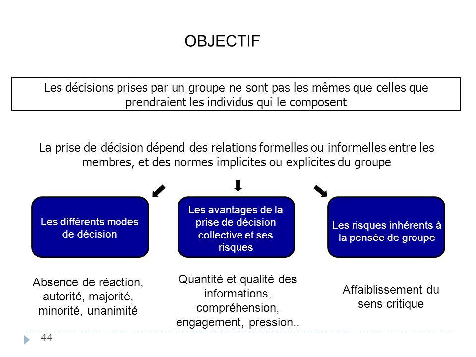 44 La prise de décision dépend des relations formelles ou informelles entre les membres, et des normes implicites ou explicites du groupe Les risques