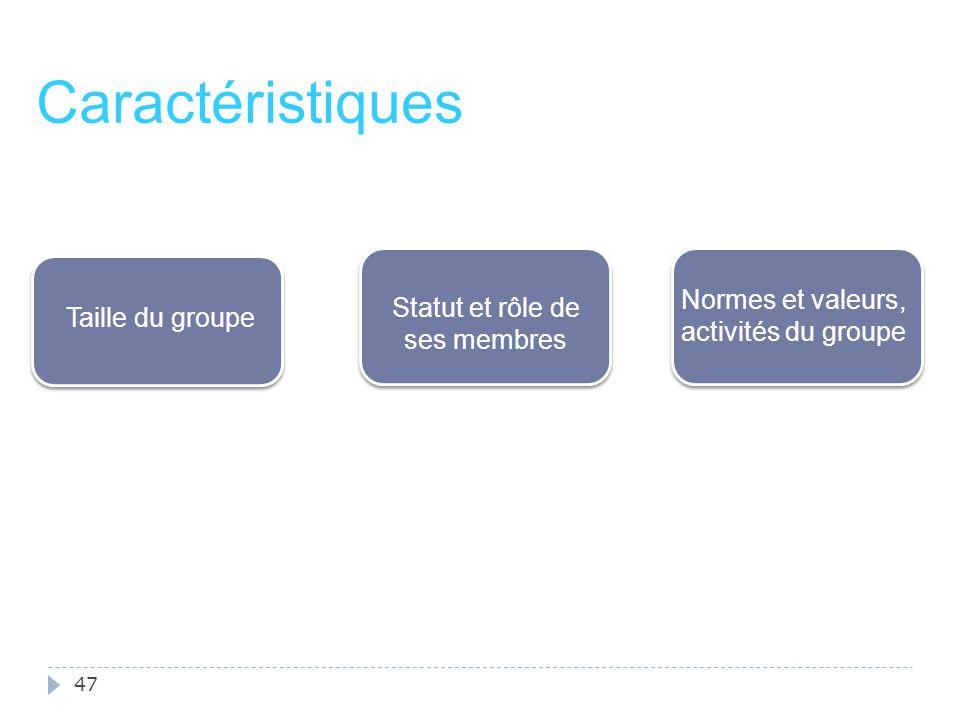 47 Caractéristiques Normes et valeurs, activités du groupe Statut et rôle de ses membres Taille du groupe