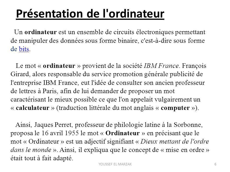 Présentation de l ordinateur Un ordinateur est un ensemble de circuits électroniques permettant de manipuler des données sous forme binaire, c est-à-dire sous forme de bits.bits Le mot « ordinateur » provient de la société IBM France.
