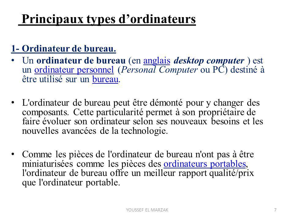 Principaux types d'ordinateurs 1- Ordinateur de bureau. Un ordinateur de bureau (en anglais desktop computer ) est un ordinateur personnel (Personal C