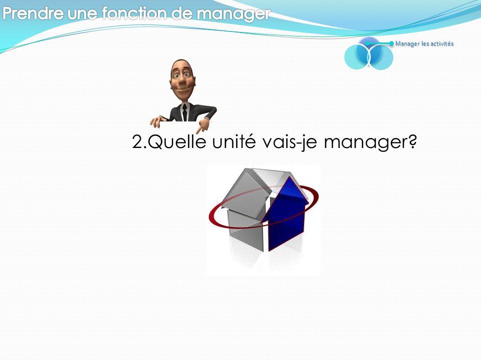 2.Quelle unité vais-je manager? Manager les activités