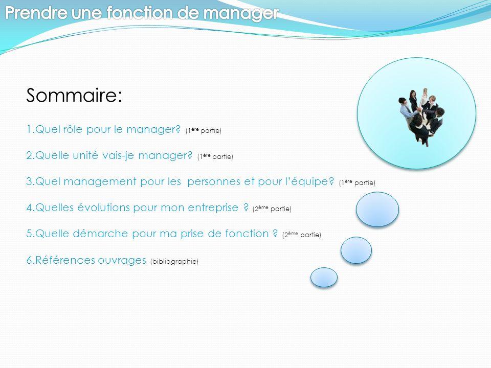 Sommaire: 1.Quel rôle pour le manager? (1 ère partie) 2.Quelle unité vais-je manager? (1 ère partie) 3.Quel management pour les personnes et pour l'éq