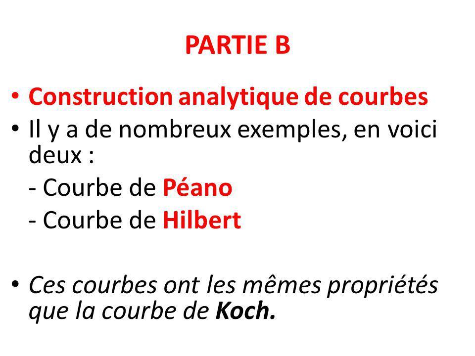 PARTIE B Construction analytique de courbes Il y a de nombreux exemples, en voici deux : - Courbe de Péano - Courbe de Hilbert Ces courbes ont les mêm