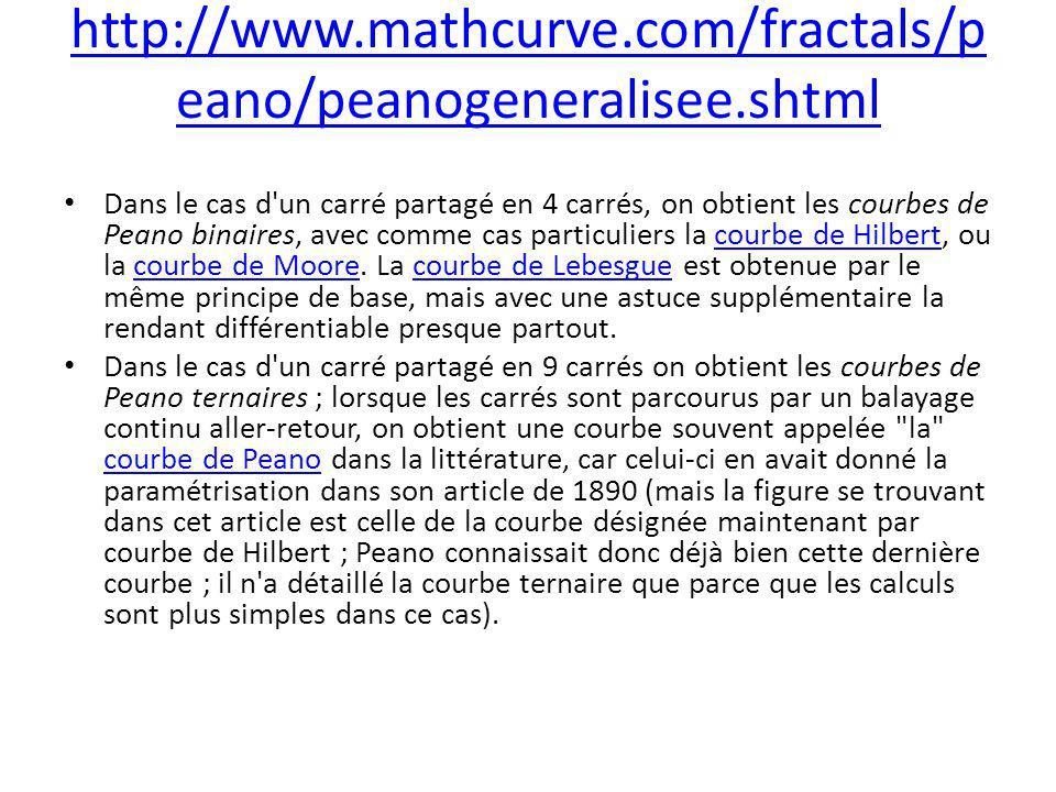 http://www.mathcurve.com/fractals/p eano/peanogeneralisee.shtml Dans le cas d'un carré partagé en 4 carrés, on obtient les courbes de Peano binaires,