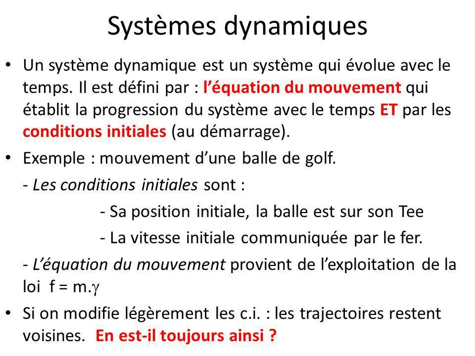 Systèmes dynamiques Un système dynamique est un système qui évolue avec le temps. Il est défini par : l'équation du mouvement qui établit la progressi