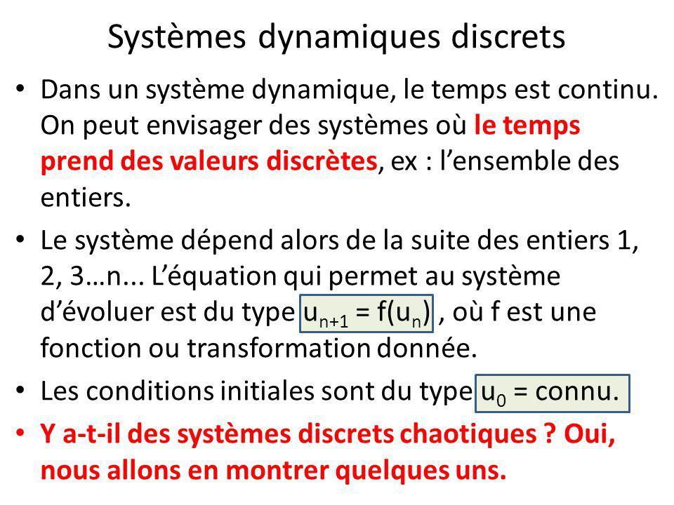 Systèmes dynamiques discrets Dans un système dynamique, le temps est continu. On peut envisager des systèmes où le temps prend des valeurs discrètes,