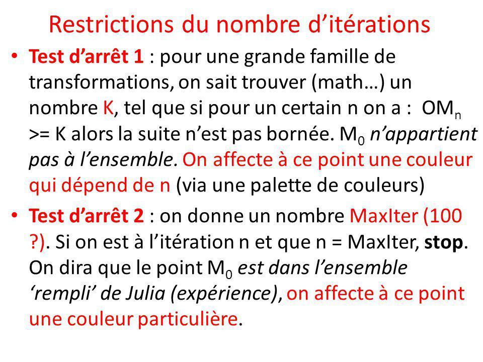Restrictions du nombre d'itérations Test d'arrêt 1 : pour une grande famille de transformations, on sait trouver (math…) un nombre K, tel que si pour