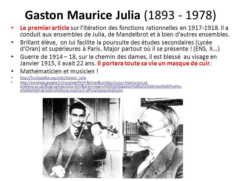 Gaston Maurice Julia (1893 - 1978) Le premier article sur l'itération des fonctions rationnelles en 1917-1918. Il a conduit aux ensembles de Julia, de