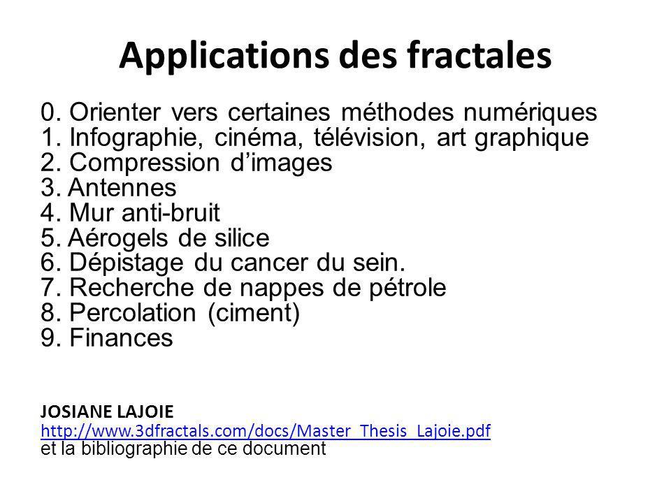 Applications des fractales 0. Orienter vers certaines méthodes numériques 1. Infographie, cinéma, télévision, art graphique 2. Compression d'images 3.