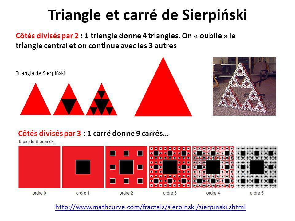 Triangle et carré de Sierpiński http://www.mathcurve.com/fractals/sierpinski/sierpinski.shtml Triangle de Sierpiński Côtés divisés par 2 : 1 triangle