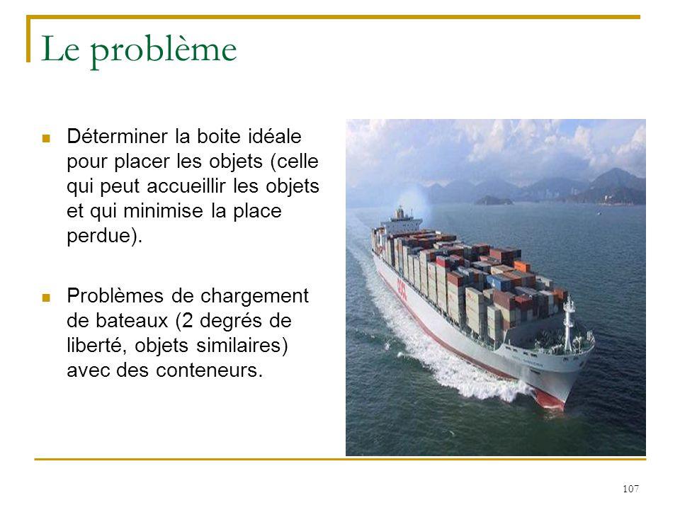 107 Le problème Déterminer la boite idéale pour placer les objets (celle qui peut accueillir les objets et qui minimise la place perdue). Problèmes de