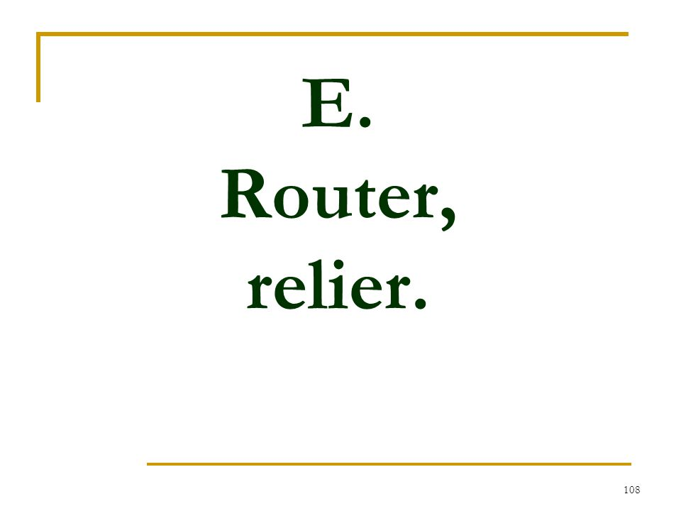 108 E. Router, relier.