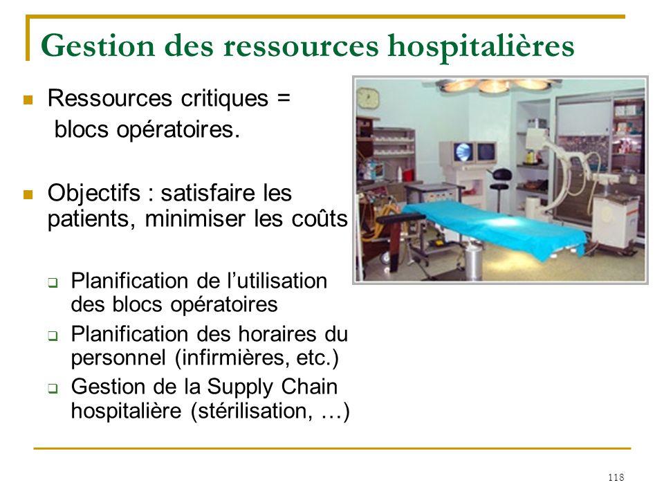 118 Gestion des ressources hospitalières Ressources critiques = blocs opératoires. Objectifs : satisfaire les patients, minimiser les coûts  Planific
