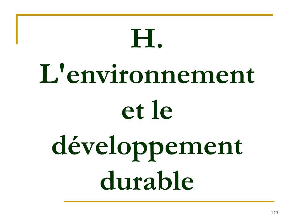 123 H. L'environnement et le développement durable