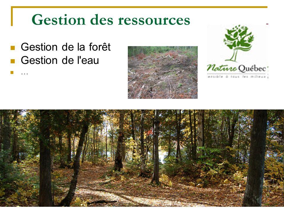 124 Gestion des ressources Gestion de la forêt Gestion de l'eau …