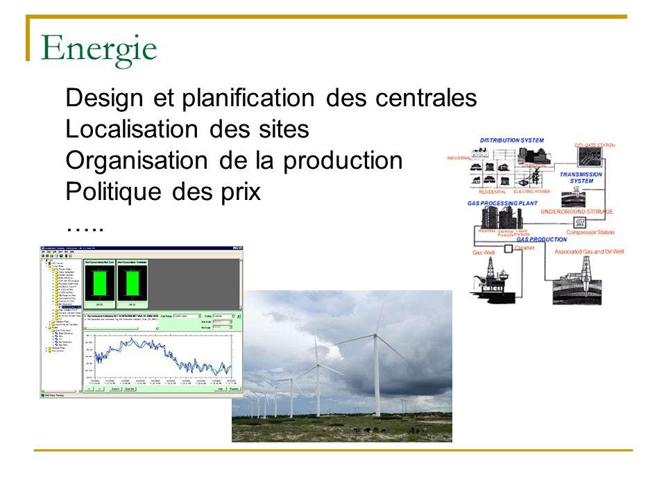 Energie Design et planification des centrales Localisation des sites Organisation de la production Politique des prix …..