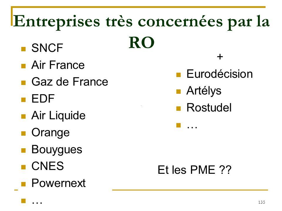 135 Entreprises très concernées par la RO SNCF Air France Gaz de France EDF Air Liquide Orange Bouygues CNES Powernext … + Eurodécision Artélys Rostud