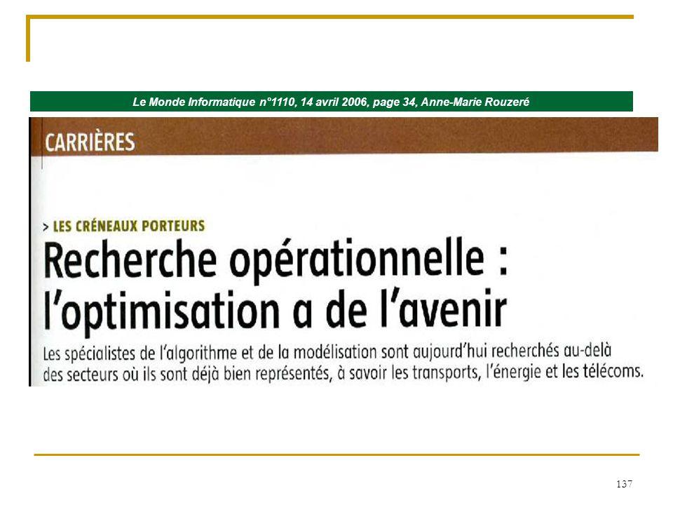 137 Le Monde Informatique n°1110, 14 avril 2006, page 34, Anne-Marie Rouzeré