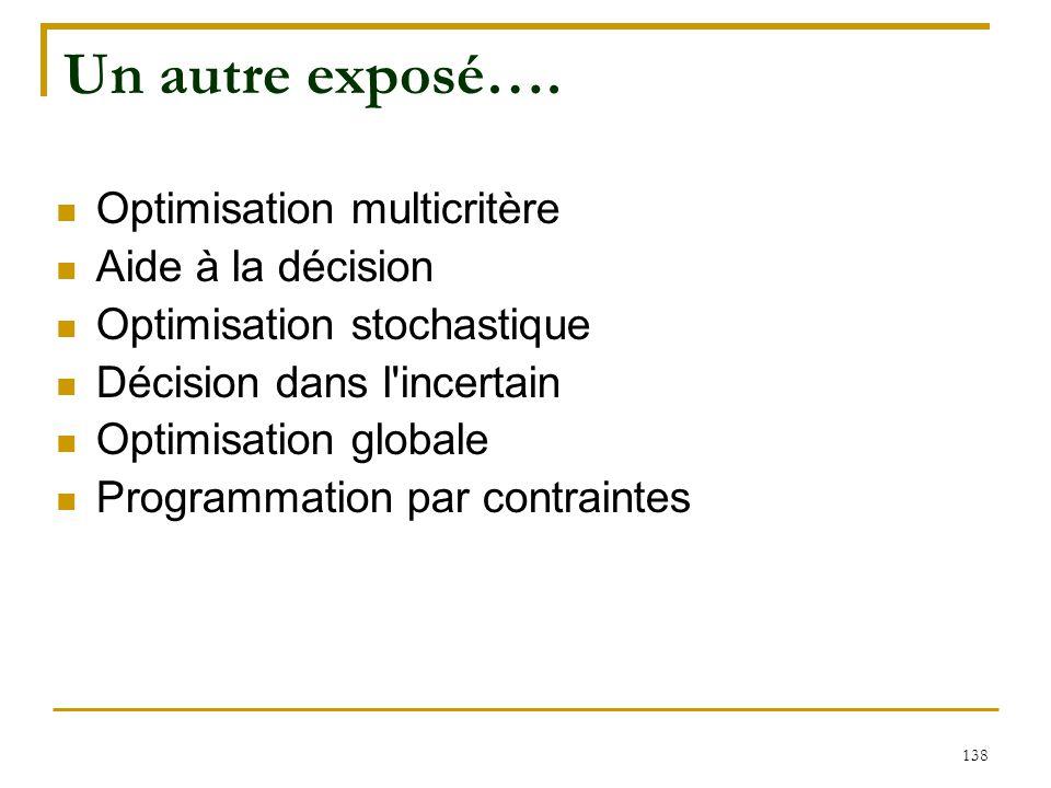 138 Un autre exposé…. Optimisation multicritère Aide à la décision Optimisation stochastique Décision dans l'incertain Optimisation globale Programmat