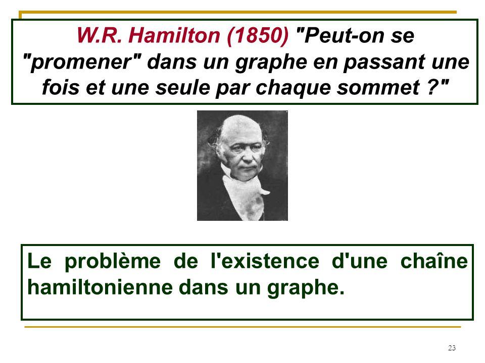 23 Le problème de l'existence d'une chaîne hamiltonienne dans un graphe. W.R. Hamilton (1850)