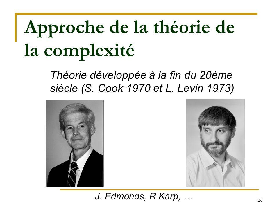 26 Approche de la théorie de la complexité Théorie développée à la fin du 20ème siècle (S. Cook 1970 et L. Levin 1973) J. Edmonds, R Karp, …