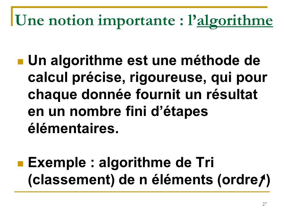 27 Une notion importante : l'algorithme Un algorithme est une méthode de calcul précise, rigoureuse, qui pour chaque donnée fournit un résultat en un