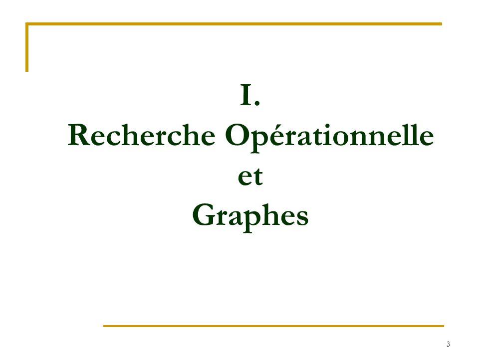 3 I. Recherche Opérationnelle et Graphes