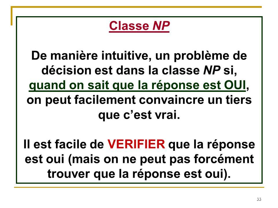 33 Classe NP De manière intuitive, un problème de décision est dans la classe NP si, quand on sait que la réponse est OUI, on peut facilement convainc