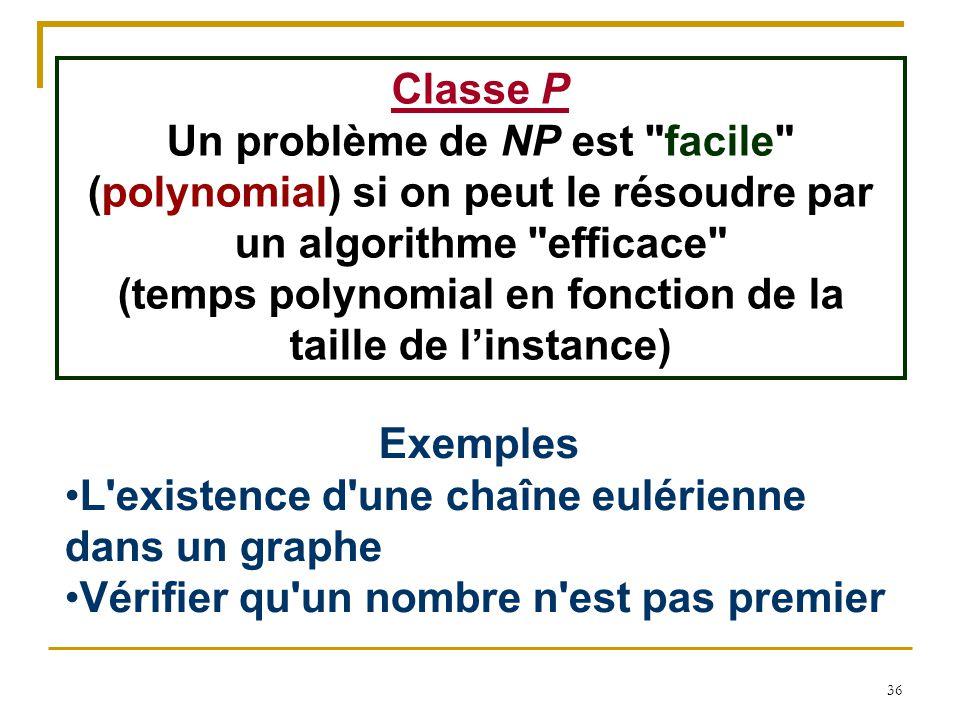 36 Classe P Un problème de NP est