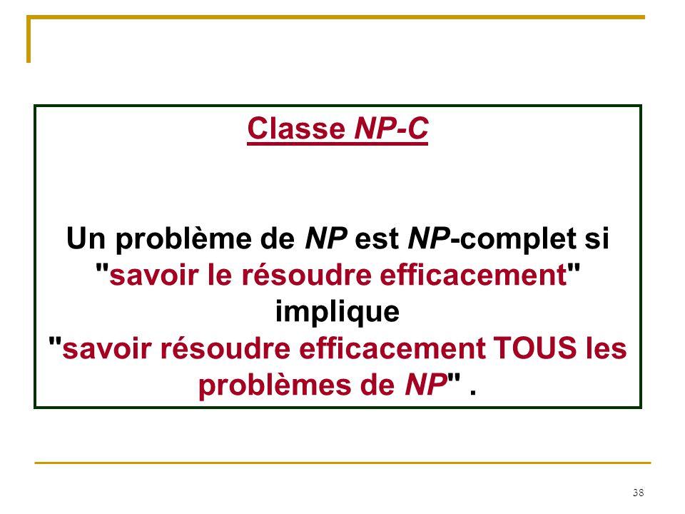 38 Classe NP-C Un problème de NP est NP-complet si