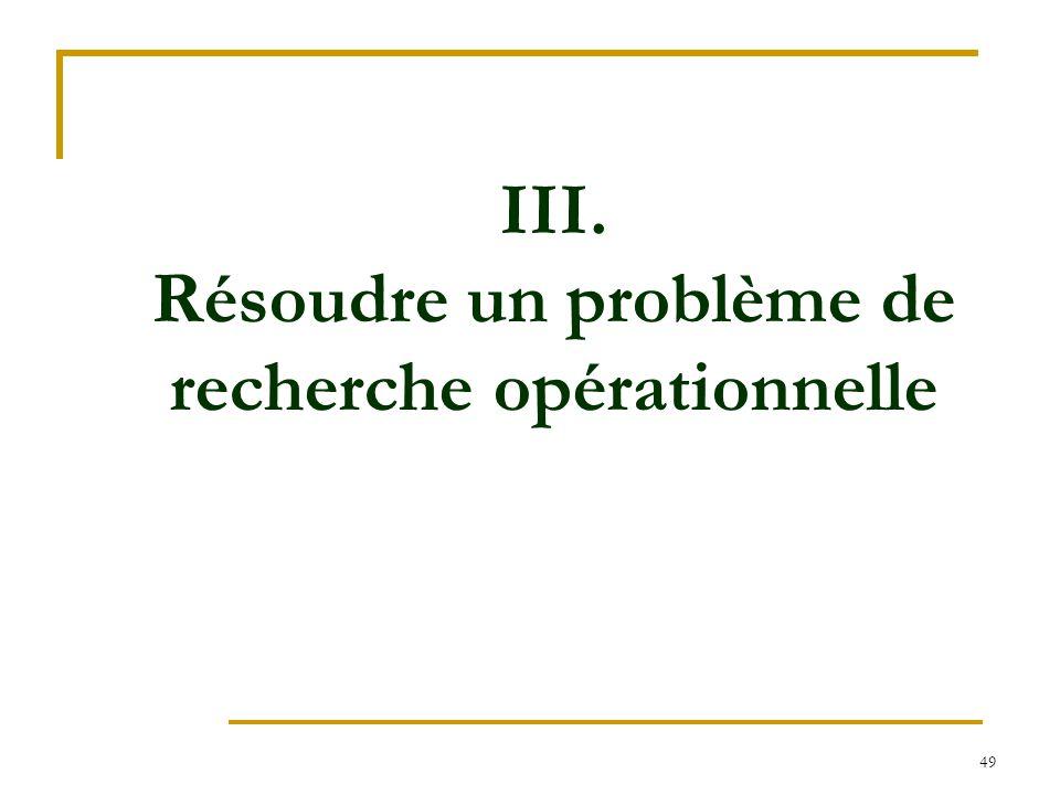 49 III. Résoudre un problème de recherche opérationnelle