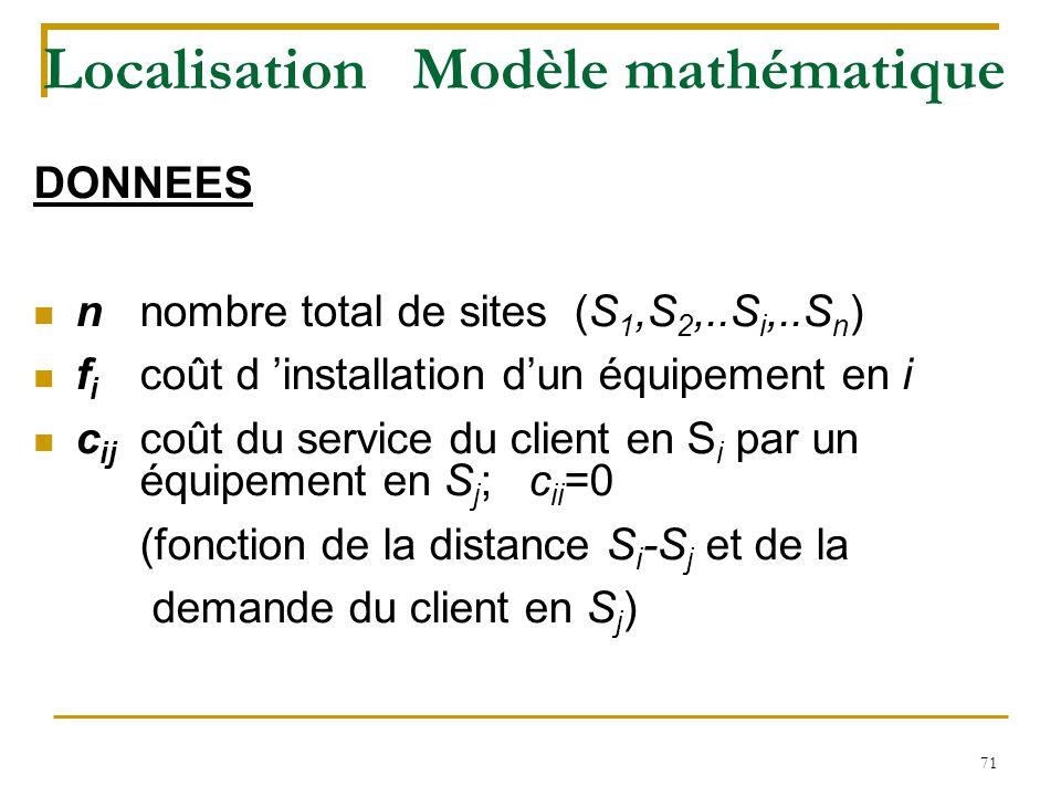 71 Localisation Modèle mathématique DONNEES nnombre total de sites (S 1,S 2,..S i,..S n ) f i coût d 'installation d'un équipement en i c ij coût du s