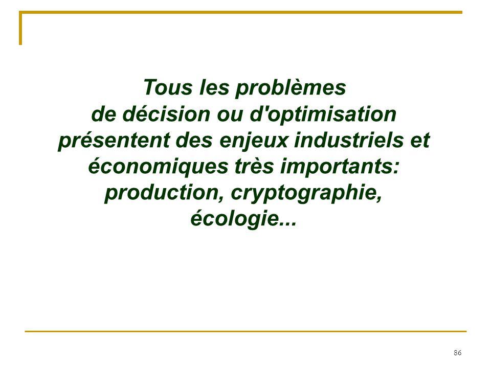 86 Tous les problèmes de décision ou d'optimisation présentent des enjeux industriels et économiques très importants: production, cryptographie, écolo