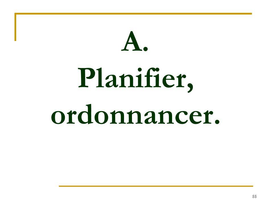 88 A. Planifier, ordonnancer.