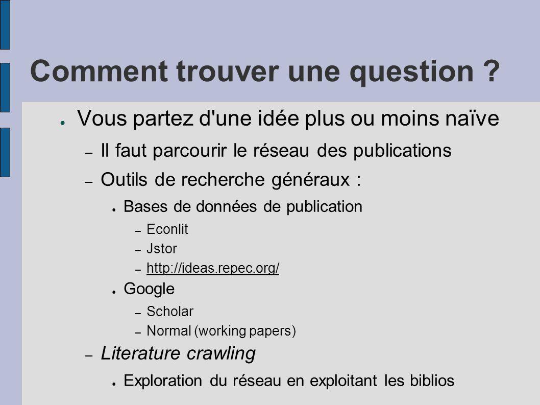 Comment trouver une question ? ● Vous partez d'une idée plus ou moins naïve – Il faut parcourir le réseau des publications – Outils de recherche génér