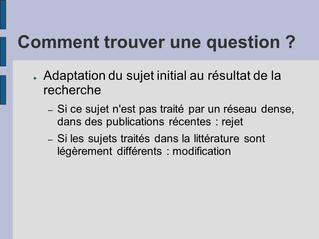 Comment trouver une question ? ● Adaptation du sujet initial au résultat de la recherche – Si ce sujet n'est pas traité par un réseau dense, dans des