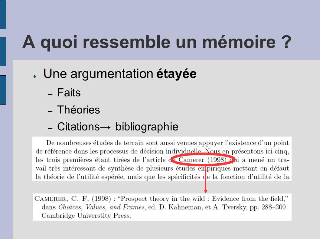 A quoi ressemble un mémoire ? ● Une argumentation étayée – Faits – Théories – Citations→ bibliographie