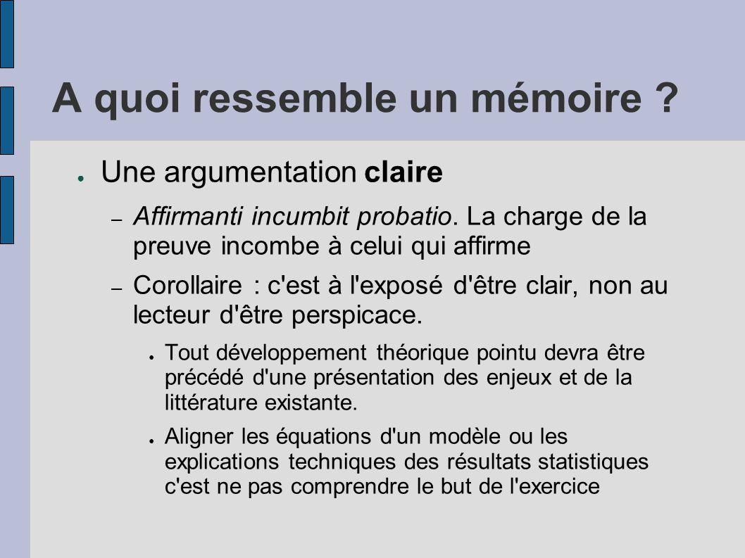 A quoi ressemble un mémoire ? ● Une argumentation claire – Affirmanti incumbit probatio. La charge de la preuve incombe à celui qui affirme – Corollai