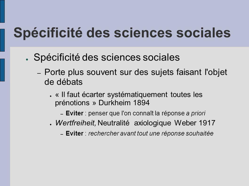Spécificité des sciences sociales ● Spécificité des sciences sociales – Porte plus souvent sur des sujets faisant l'objet de débats ● « Il faut écarte
