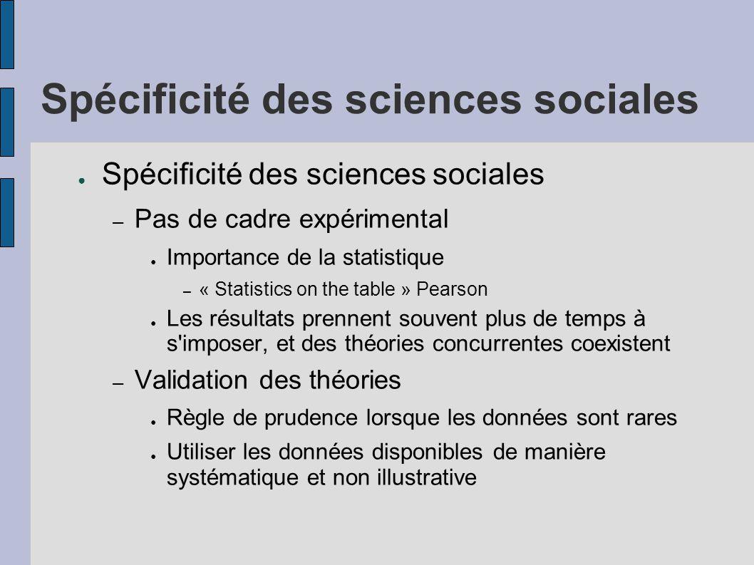 Spécificité des sciences sociales ● Spécificité des sciences sociales – Pas de cadre expérimental ● Importance de la statistique – « Statistics on the