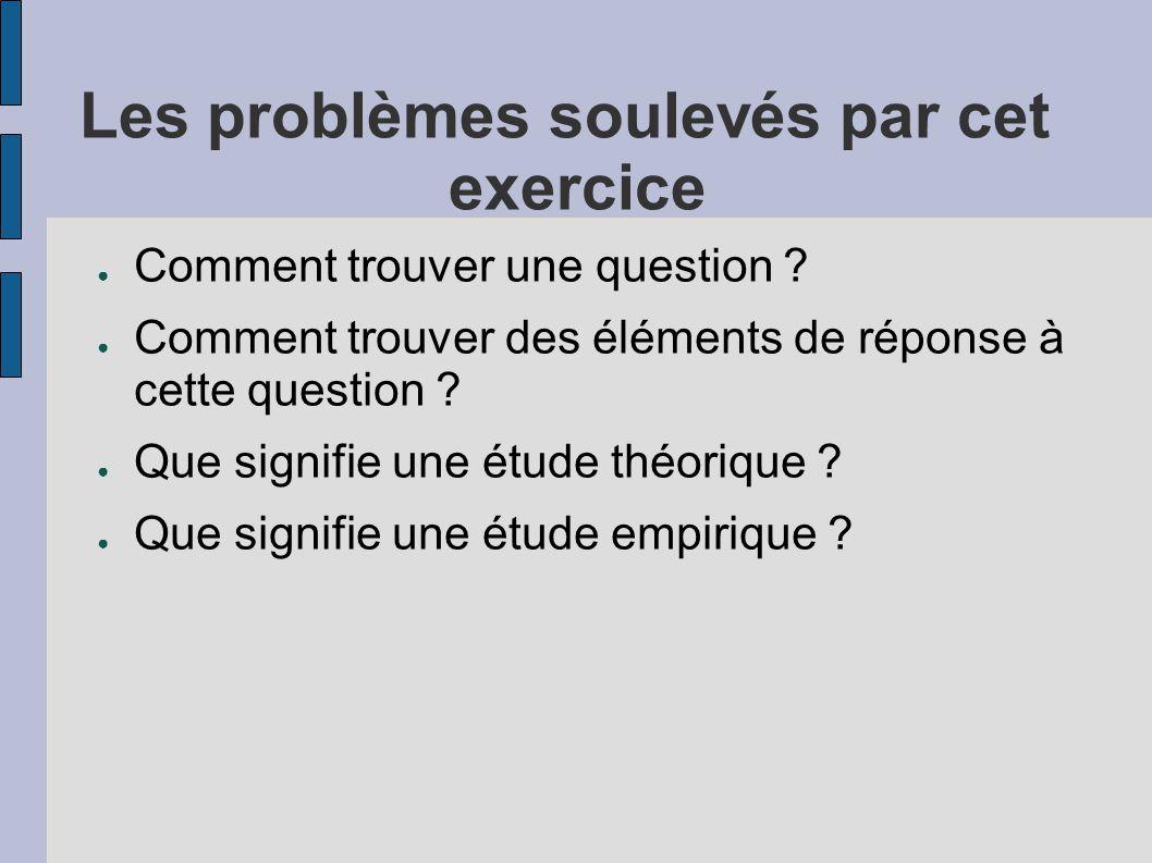 Les problèmes soulevés par cet exercice ● Comment trouver une question ? ● Comment trouver des éléments de réponse à cette question ? ● Que signifie u