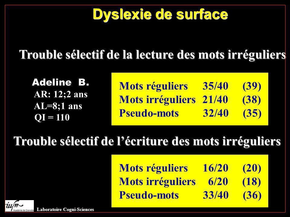Dyslexie de surface Trouble sélectif de la lecture des mots irréguliers Adeline B. AR: 12;2 ans AL=8;1 ans QI = 110 Mots réguliers 35/40 (39) Mots irr