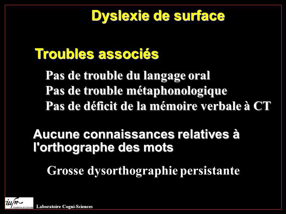 Troubles associés Aucune connaissances relatives à l'orthographe des mots Dyslexie de surface Pas de trouble du langage oral Pas de trouble métaphonol