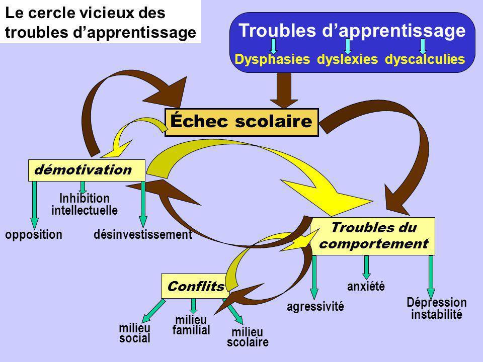Le cercle vicieux des troubles d'apprentissage Troubles d'apprentissage Dysphasies dyslexies dyscalculies Dépression instabilité anxiété agressivité m